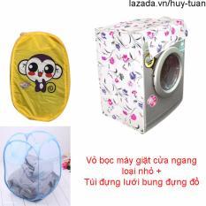 Vỏ bọc máy giặt cửa ngang cỡ nhỏ ( màu ngẫu nhiên ) + túi lưới bung ( Vàng )