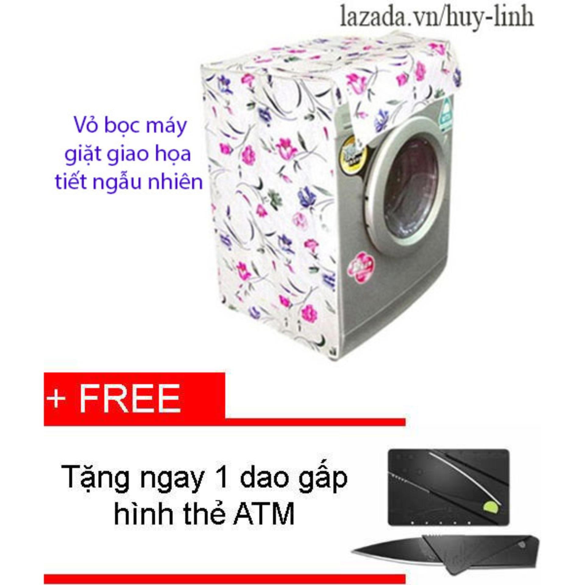 Bảng Báo Giá Vỏ bọc máy giặt cửa ngang cỡ nhỏ màu sắc ngẫu nhiên cho máy giặt giao họa tiết ngẫu nhiên + Tặng dao gấp hình thẻ ATM