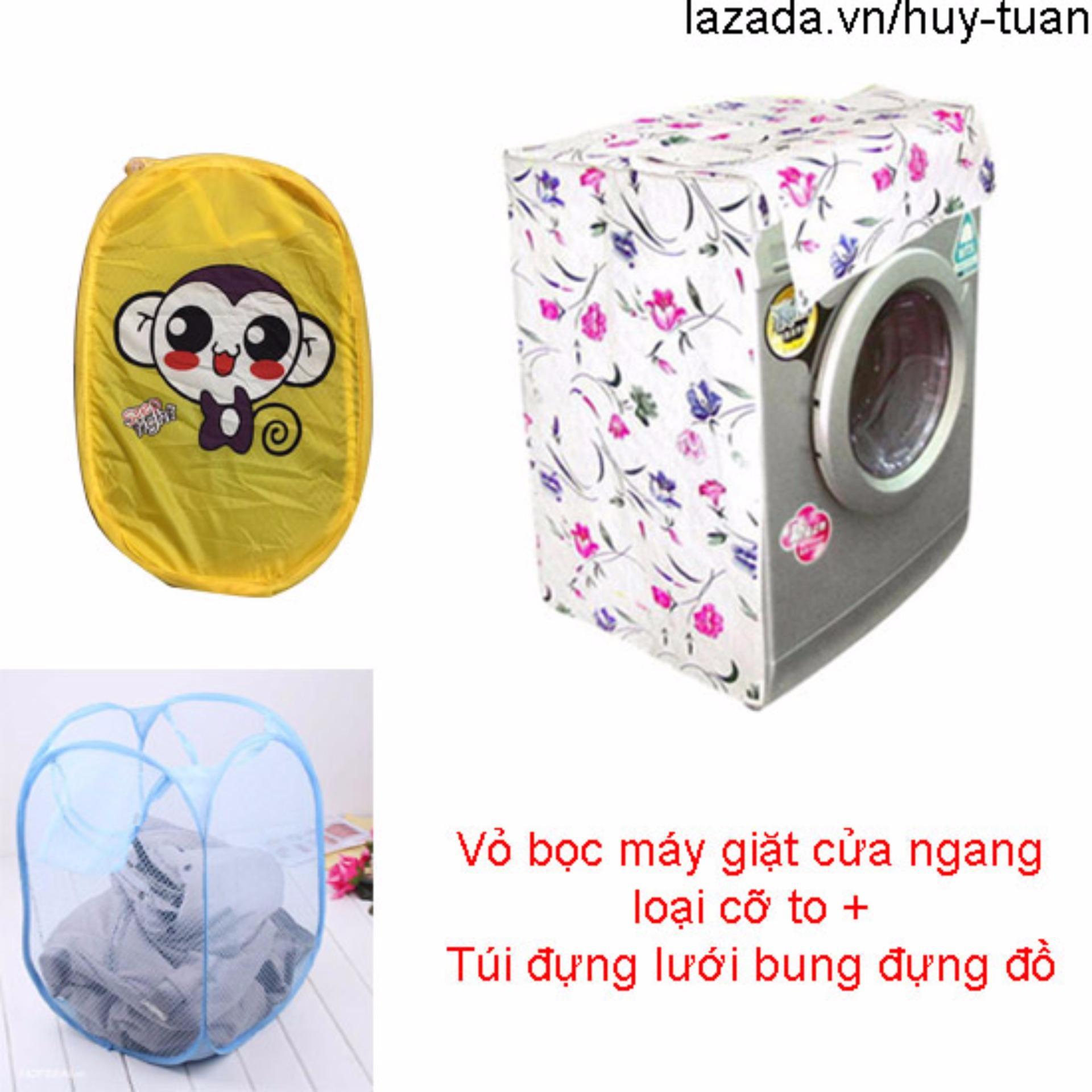 Vỏ bọc máy giặt cửa ngang cỡ to ( màu ngẫu nhiên ) + túi lưới bung ( Vàng )