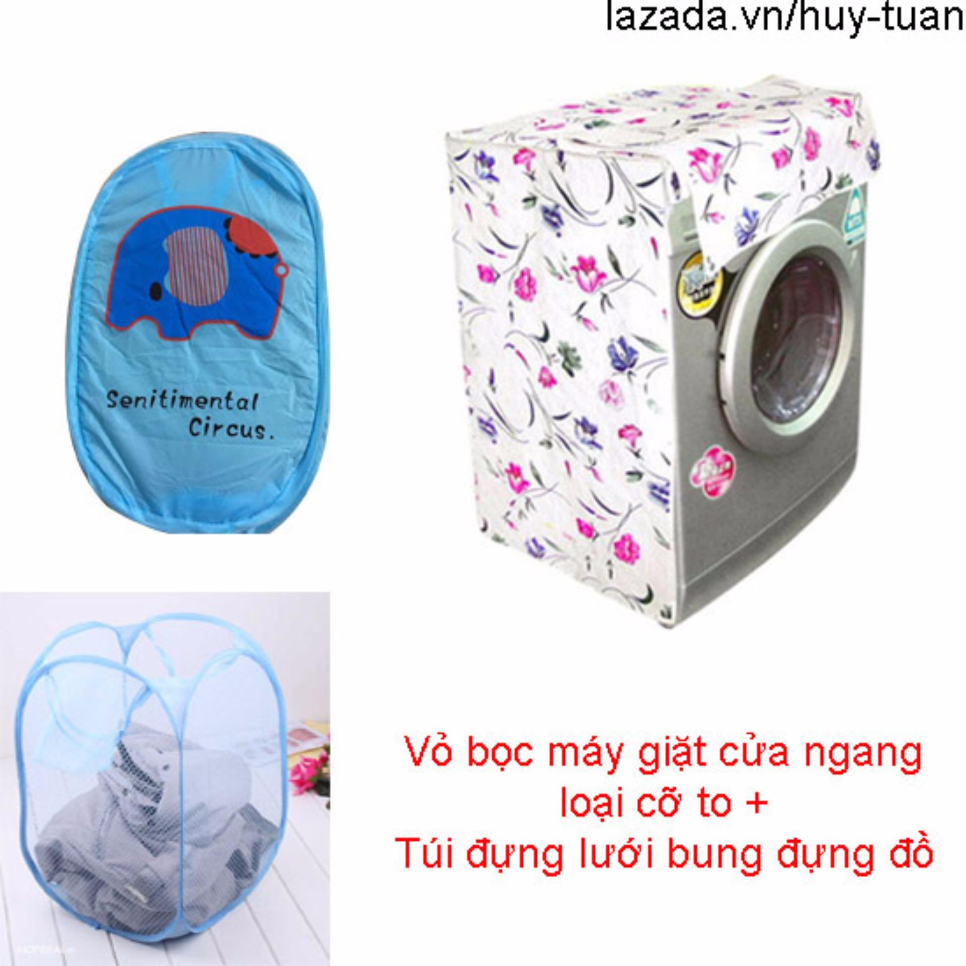Vỏ bọc máy giặt cửa ngang cỡ to ( màu ngẫu nhiên ) + túi lưới bung ( Xanh dương )