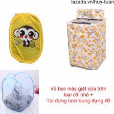 Vỏ bọc máy giặt cửa trên cỡ nhỏ ( màu ngẫu nhiên ) + túi lưới bung ( Vàng )