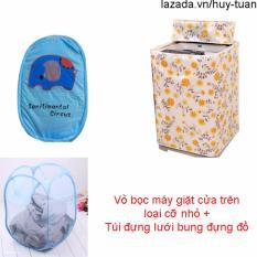 Vỏ bọc máy giặt cửa trên cỡ nhỏ ( màu ngẫu nhiên ) + túi lưới bung ( Xanh dương )