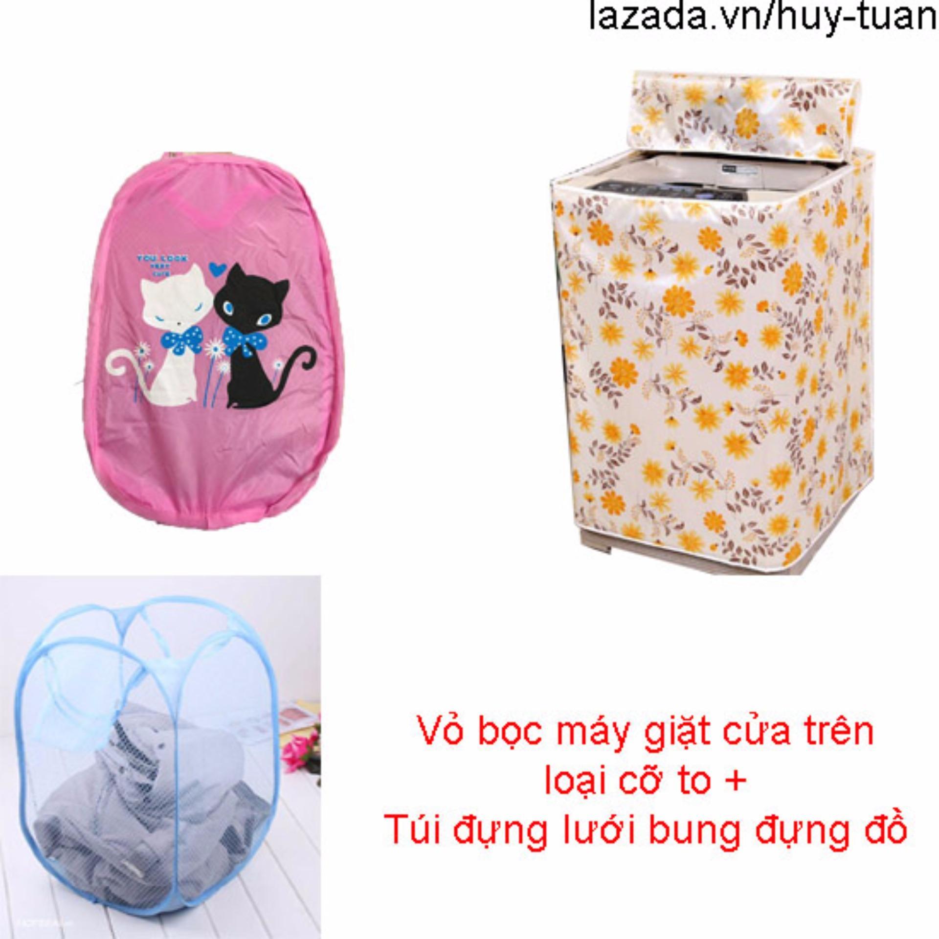 Vỏ bọc máy giặt cửa trên cỡ to ( màu ngẫu nhiên ) + túi lưới bung ( Hồng )