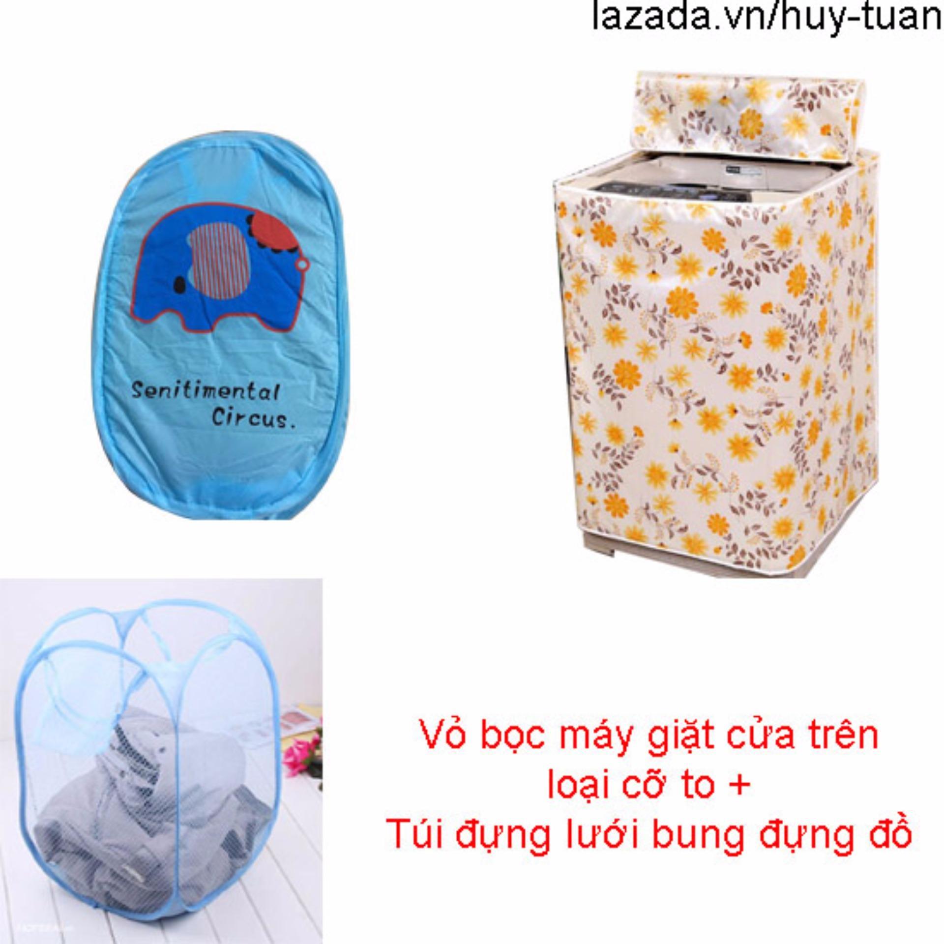 Vỏ bọc máy giặt cửa trên cỡ to ( màu ngẫu nhiên ) + túi lưới bung ( Xanh dương...