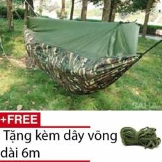 Võng Dù Vải Bộ Đội Có Mùng (Xanh Bộ Đội) + 6m dây võng