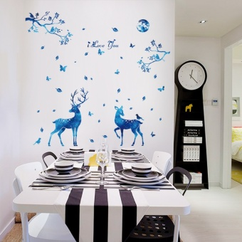 Wall stickers can remove the blue starlight deer bedroom room decorations stickers stickers creative personality of Sika Deer - intl