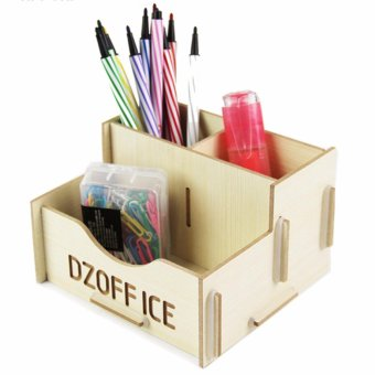 Wooden Grain Design Home Desk Storage Box Office Desktop OrganizerHolder Case School Table Stationery Organizer Rack (White) - intl