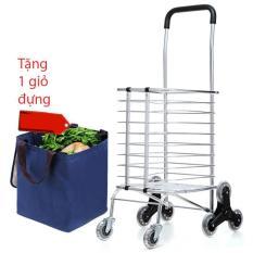 Xe kéo đẩy leo cầu thang 6 bánh gấp gọn inox K-MARKET MODEL 602 Tặng túi đựng đồ tiện lợi