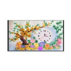 YN2062-Tranh đính đá đồng hồ cây mai-65.45-210
