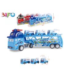 Ô tô đồ chơi xe tải đầu kéo 2 tầng hình Poli chở 5 xe mua một được 6 cho bé chơi thoải mái