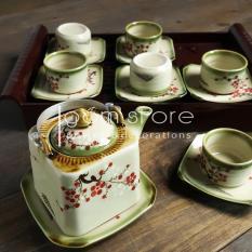 Ấm trà Bát Tràng dáng vuông vẽ tay hoa đào, hoa sen (bộ ấm chén trên không kèm khay như hình)
