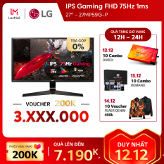 Màn hình máy tính LG IPS Gaming FHD (1920 x 1080) 75Hz 1ms 27 inches l 27MP59G-P l HÀNG CHÍNH HÃNG