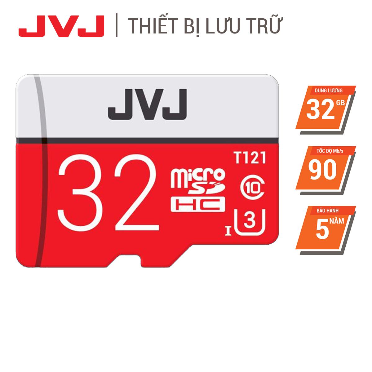 Thẻ nhớ 32G Class 10 U3 JVJ Pro microSDHC tốc độ cao 95MB/s Thẻ nhớ cho camera wifi, camera hành trình, điện thoại, máy chơi game, chất lượng hình ảnh 4k tặng kèm gói bảo hành 5 năm đổi mới trong vòng 7 ngày, thẻ 32G