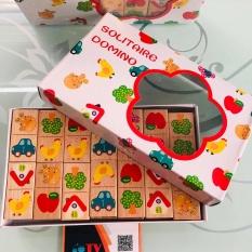Bộ đồ chơi domino bằng gỗ cho bé | Đồ chơi gỗ xếp hình domino | Bộ trò chơi Domino 28 chi tiết hoa văn dễ thương bằng gỗ