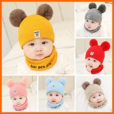 (L1 DÀY DẶN, KHÔNG NHÃO) Set Mũ len kèm khăn ống hai quả bông siêu yêu cho bé SaBo