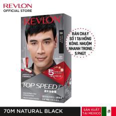 [Tặng khẩu trang] Nhuộm tóc phủ bạc Revlon TopSpeed dành cho nam – 70M Natural Black – Đen + Tặng 01 Khẩu Trang