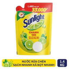 Nước rửa chén sunlight chanh mới sạch nhanh xả bọt nhanh túi 1.4 kg