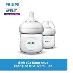 Bình sữa bằng nhựa Philips Avent không có BPA 125ml – đôi (SCF690/23)