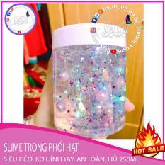 Slime trong trang trí hạt giả ngọc trai nhiều màu cho bé trai và bé gái, đã được kiểm định an toàn QUATEST3, hủ 250ml, slime siêu dẻo, được tặng kèm borax khi mua combo sản phẩm