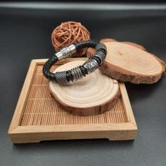 Vòng tay dây da nam cao cấp charm Viking