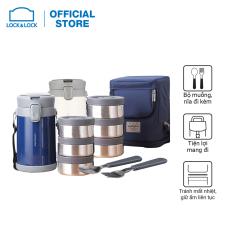 Bộ hộp cơm giữ nhiệt Lock&Lock Easy Carry – LHC8039 – kèm bộ muỗng nĩa và túi đựng. Gồm 1 hộp 720ml+ 2 hộp 420ml