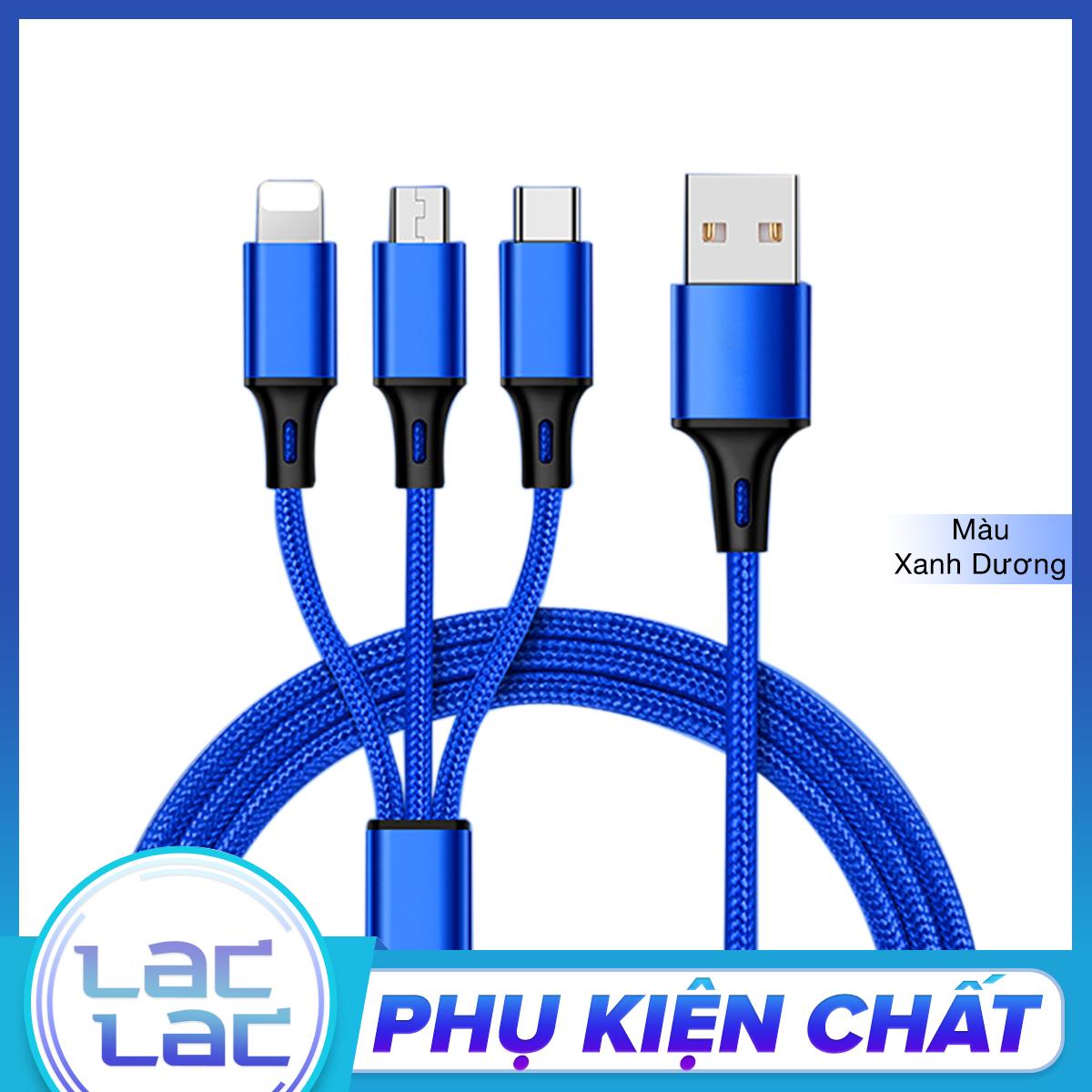 Cáp Sạc Bọc Dù 3 Đầu Đa Năng 3 in 1: Lightning – Micro USB – Type C, Sạc Ổn Định Hơn, An Toàn Hơn cho iPhone/iPad, Samsung, Xiaomi, Huaweii,…