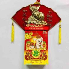 Bộ lịch Kỷ Hợi 2019 – Combo bìa lịch treo tường hình heo vàng và block lịch đại khổ lịch 16 x 24cm