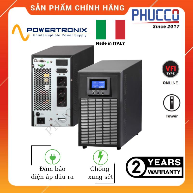 [HCM]BỘ LƯU ĐIỆN TRUE ONLINE UPS 1KVA/0.9KW CỦA HÃNG POWERTRONIX (ITALY – G7)