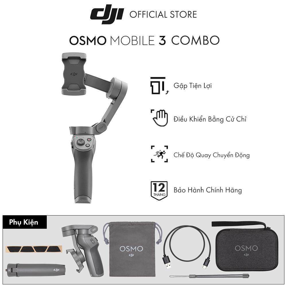 Tay cầm gimbal DJI Osmo Mobile 3 Combo chống rung điện thoại Hàng chính hãng