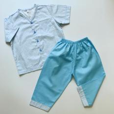 Bộ mặc nhà cotton cho bé caro xanh dương 10-40kg
