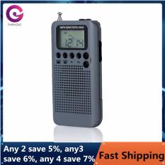 HRD-104 Radio Di Động AM/ FM Stereo Pocket 2-Band Điều Chỉnh Kỹ Thuật Số Radio Mini Receiver Đài Phát Thanh Ngoài Trời W/Tai Nghe Dây Buộc 1.3 Inch Màn Hình LCD