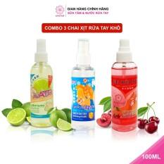 Combo 3 chai xịt rửa tay hương Cherry, Chanh mát và Không mùi Làm Sạch Vượt Trội, X3 Dưỡng Ẩm Không Gây Khô Da AVATAR