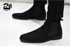 Giày nam chelsea boot da bò lộn, phối quần jean đen siêu ngầu SHOES 2H size 38-43, Nâu – Đen 2H-56