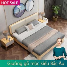 giường gỗ kiểu Bắc Âu giường đôi 1.8m đơn giản dễ lắp ráp giường cưới giường nội thất phòng ngủ