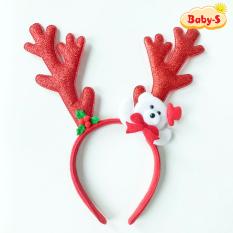 Băng đô cài tóc Noel sừng tuần lộc lấp lánh size lớn đủ màu sắc phối gấu tuyết trắng đáng yêu nổi bật Baby-S – SNOEL013