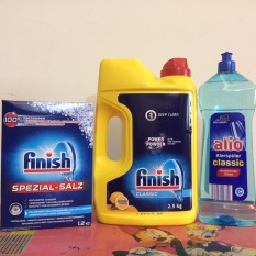 Combo Bột rửa bát finish 2.5kg+Muối rửa chén finish 1.2kg+nước bóng 400ml + Tang 3 vien Finish