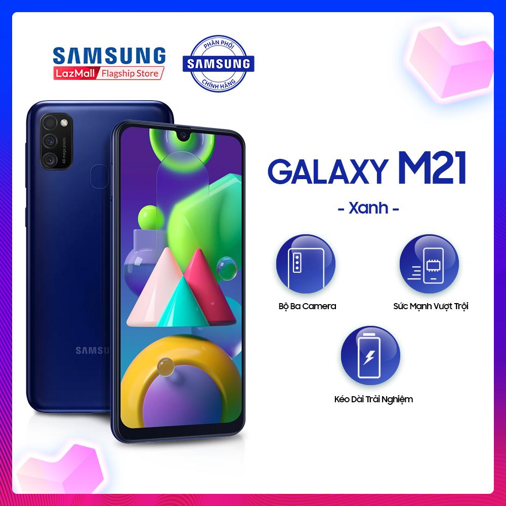 Điện thoại Samsung Galaxy M21 – Siêu pin mãnh thú 6,000mAh, lớn nhất Samsung Galaxy -Bộ ba camera sau 48MP nâng tầm nhiếp ảnh – Hàng phân phối chính hãng.