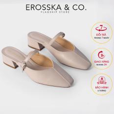 Giày cao gót Erosska thời trang mũi vuông phối dây quai mảnh kiểu dáng thanh lịch cao 4cm EL017 (NU)
