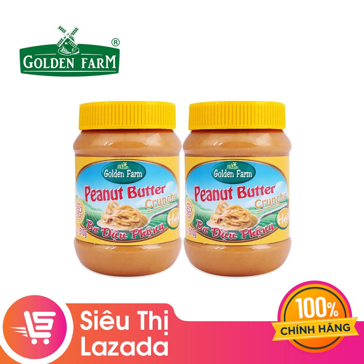 [Siêu thị Lazada] Combo 2 Hộp Bơ Đậu Phộng Hạt Golden Farm 510G (2 hộp x 510g) – nguyên liệu tự nhiên không chứa hóa chất an toàn vệ sinh thực phẩm