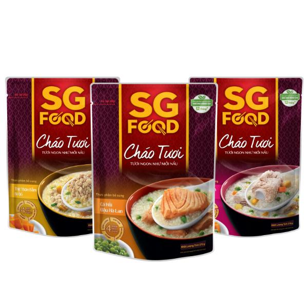 Lốc 3 (31) – Cháo tươi SG Food 270g, thịt bằm, sườn non, cá hồi (810g)