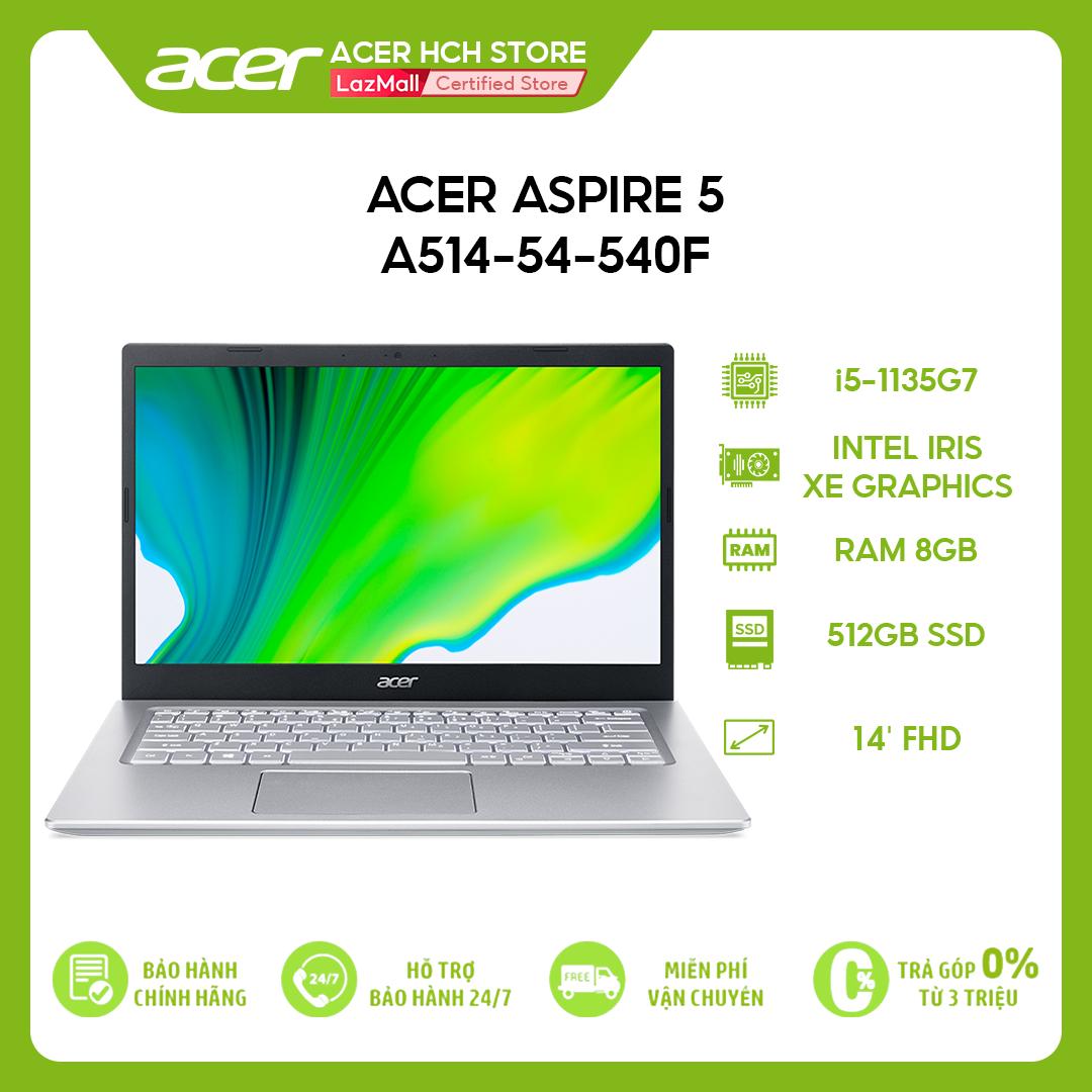 [Trả góp 0%]Laptop Acer Aspire 5 A514-54-540F i5-1135G7 | 8GB | 512GB | Intel Iris Xe Graphics | 14 FHD | Win 10