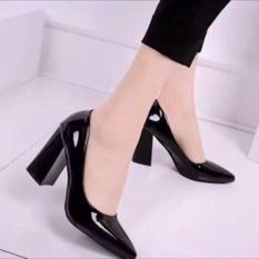 Giày cao gót vuông công sở da bóng gót 5 phân và 7 phân kèm ảnh thật