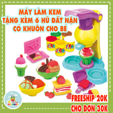 Đồ chơi đấtnặn cho bé mẫu mẫu máy làm kem gồm 5 hũ đất sét nhiều màu , chất liệu an toàn cho bé trên 1 tuổi – Thị trấn đồ chơi
