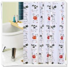Rèm Phòng Tắm / Rèm Cửa Sổ Trằng Họa Tiết Mèo Chữ 180cm X 180cm Loại 1