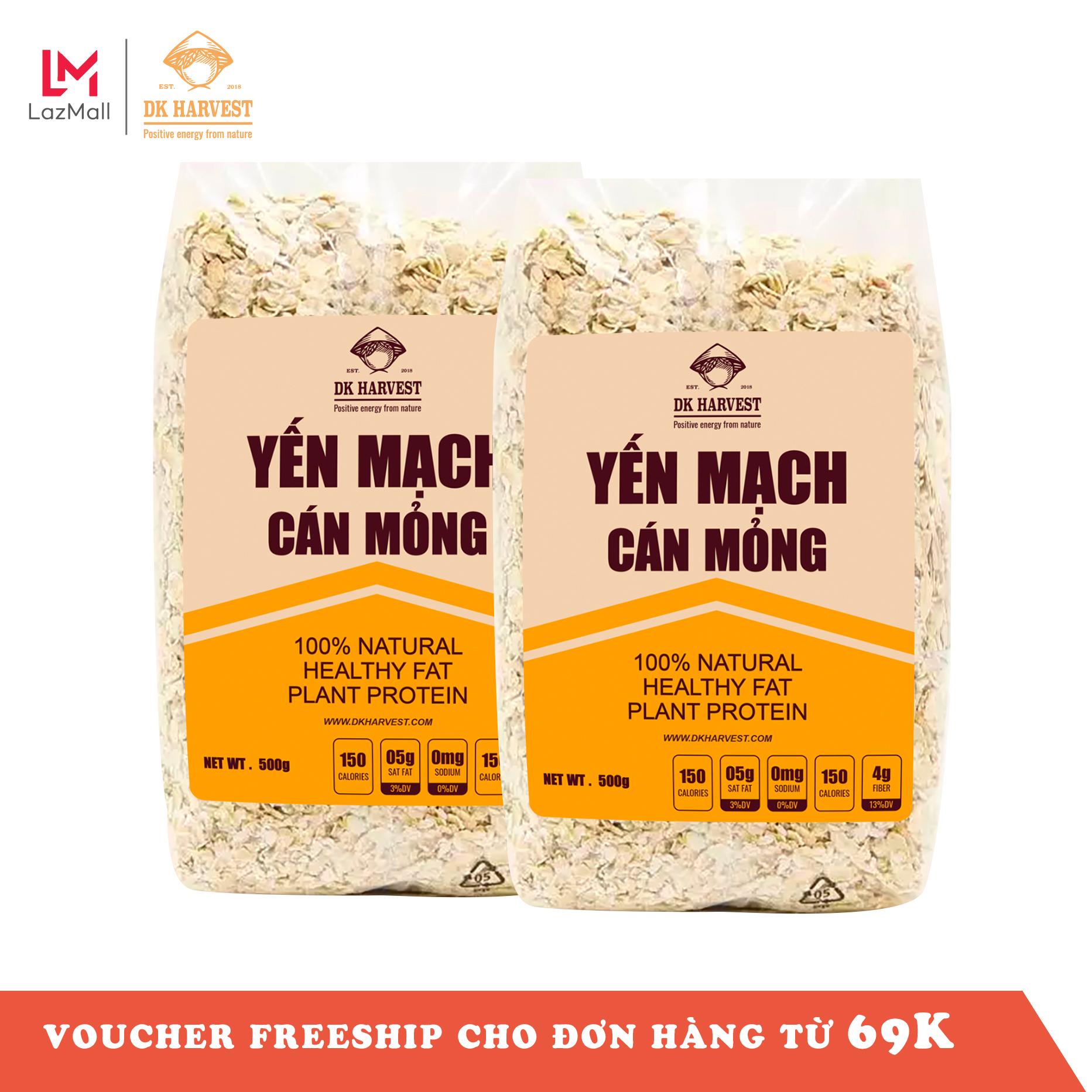 Combo 1kg Yến mạch ăn liền, nguyên hạt cán dẹp DK Harvest nhập khẩu Úc - 1kg (2 túi 500g),...