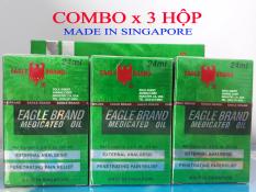 COMBO 3 Hộp Dầu Gió Xanh 2 Nắp SINGAPORE Nhập Khẩu Chính Hãng – 24ml