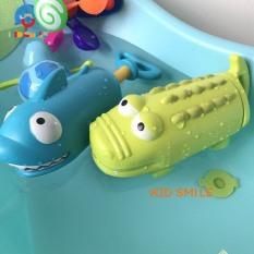 Đồ chơi mùa hè trẻ em máy bắn nước kéo pít tông hình cá mập, cá sấu ngộ ngĩnh, hàng size to nhựa ABS cao cấp cho bé từ 1 tuổi trở lên