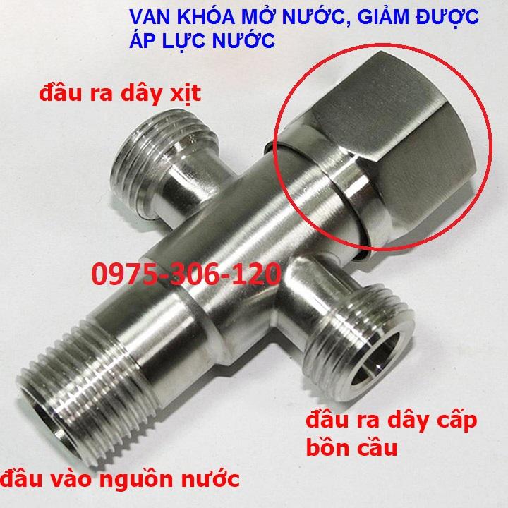 [LOẠI 1 GIÁ SỈ] Van Chia Nước Van Khóa Nước INOX 304 nối dây cấp và dây xịt T CẦU...
