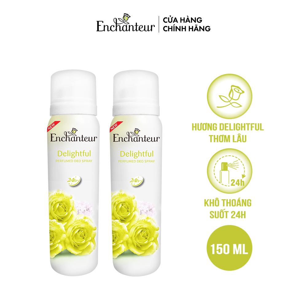 Combo 2 Xịt khử mùi nước hoa Enchanteur Delightful 150ml/Chai