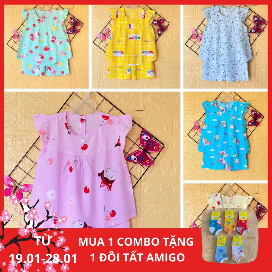 Combo 3 bộ quần áo bé gái – Đồ bộ cho bé gái Cánh Tiên vải Tole, lanh 2 da cao cấp (loại 1), size 1 đến 14 cho bé 5 đến 38kg, hàng Việt Nam chất lượng cao
